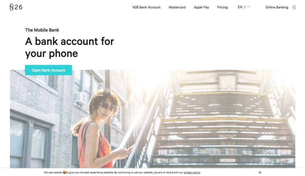 N26 - conto corrente online - banca online