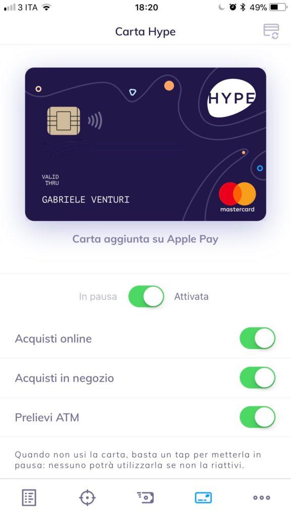 carta nell'app