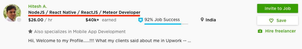 Un esempio di Job Title su UpWork